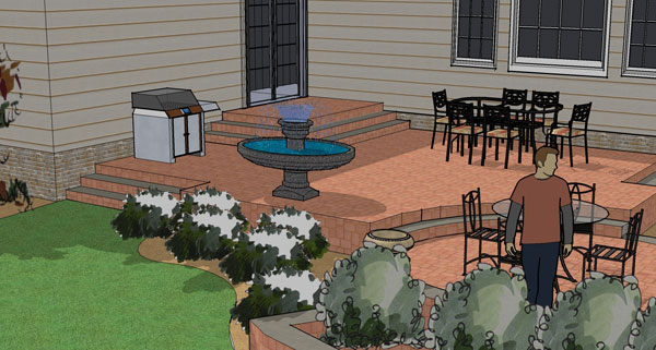 Terraced patio design shown in 3D.