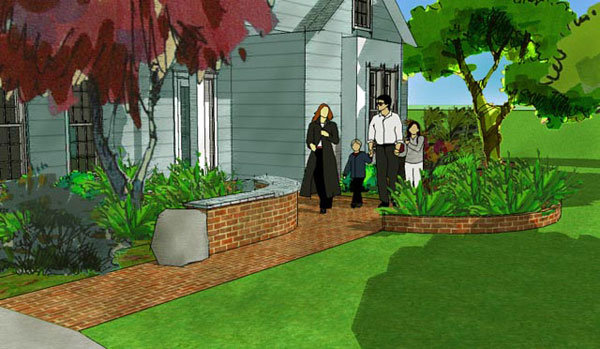 Brick walkway and planters - 3D landscape design.