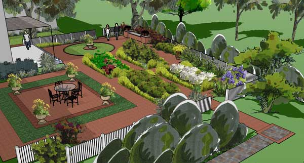 Formal gardens shown in 3D Sketchup