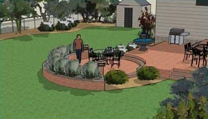 Circular two level patio design.