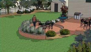 Circular two level patio design.
