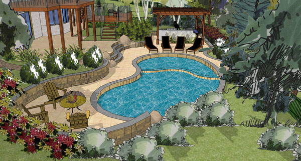 Pool design shown in 3d