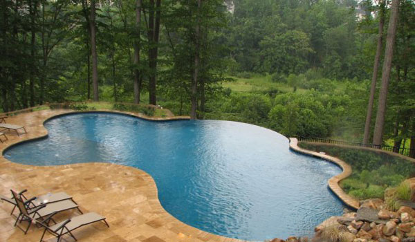 Pool landscape design with vanishing edge for Pool design inc bordentown nj