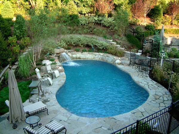 natural swimming pool with stone pool decking