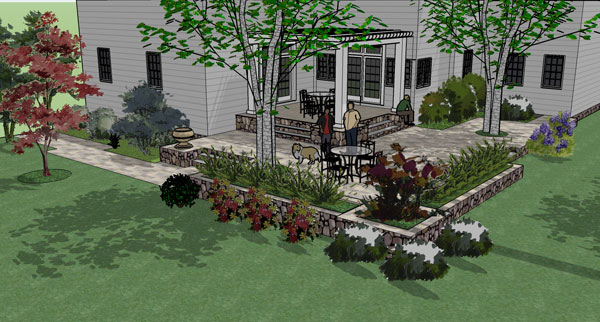 This two level patio is done in bluestone - 3D design.